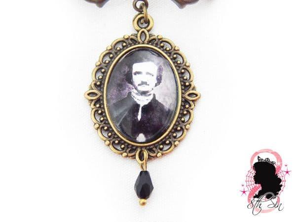 Antique Bronze Edgar Allan Poe Lapel Brooch